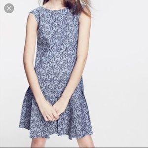 Jcrew drop waist palm print dress